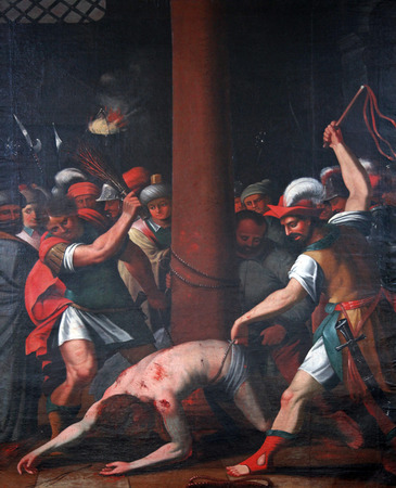 The Passion of Jesus, painting on the church altar in the Neumunster Collegiate Church in Wurzburg Stock Photo