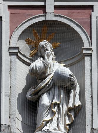 christus: Christus Salvator - Christ on the Facade of Neumunster Collegiate Church in Wurzburg