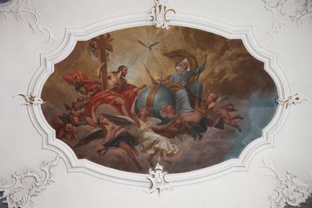 espiritu santo: Pintura al fresco de la Santísima Trinidad en el Santuario de Santa Ágata en Schmerlenbach