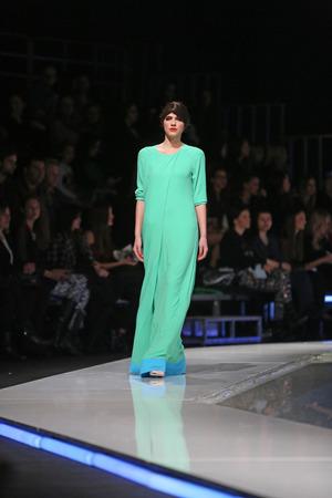 Fashion model wearing clothes designed by Aleksandra Dojcinovic on the