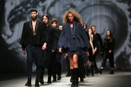 demode: Fashion model wears clothes made by Madame Demode on CRO A PORTER show on April 10, 2014 in Zagreb, Croatia.