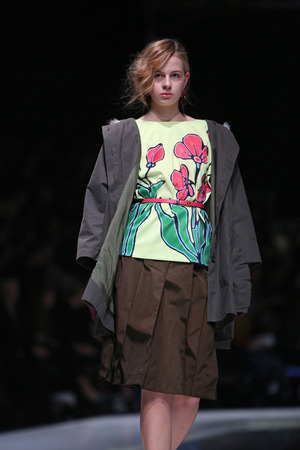 sever: Fashion model wearing clothes designed by Robert Sever on the Fashion.hr show on March 29, 2014 in Zagreb, Croatia.
