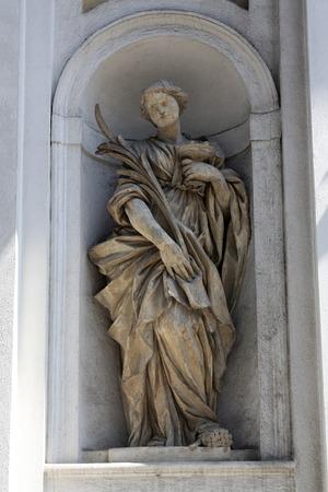 lucia: Saint Lucia, marble statue  St  Lucia Church,  Parma,  Emilia-Romagna,  Italy Stock Photo