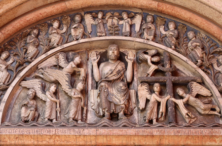 the majesty: Christ in Majesty  Tympanum of the Baptistery in Parma, Italy