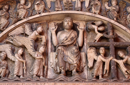 the majesty: Christ in Majesty, Tympanum of the Baptistery in Parma, Italy Stock Photo