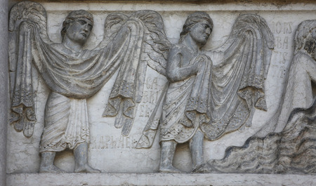 angel gabriel: Archangels Raphael and Gabriel, detail of marble carvings on the Baptistery, Parma Emilia-Romagna Italy