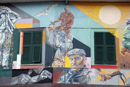 Murals of the painter Silvio Benedetto in Riomaggiore, Italy