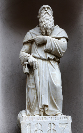Saint Anthony the Great, street sculpture, Riomaggiore, Liguria, Italy