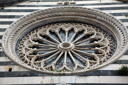 Rosette at the Church of St  John the Baptist in Monterosso, Liguria, Italy photo
