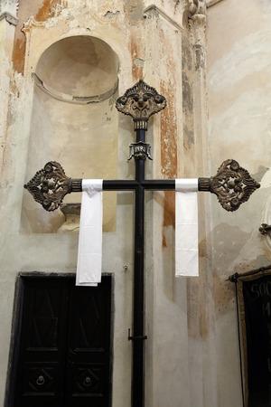 oratory: Cross in the Oratory of the Dead in the Old Town at Monterosso al Mare Cinque Terre Liguria Italy Stock Photo
