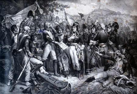 An engraved vintage illustration image of Napoleon Bonaparte with his army at the Battle of Lodi now exhibited in the Villa dei Mulini, Portoferraio, Italy