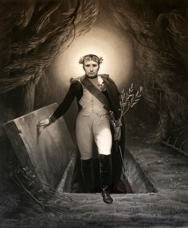 napoleon: Napoleon Rising comes out of the grave painting by Horace Vernet now exhibited in the Villa dei Mulini, Portoferraio, Italy Stock Photo