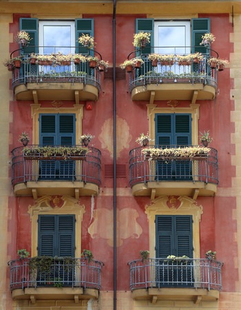 ornately: Colorful, ornately painted buildings in Santa Margherita Ligure, Italy