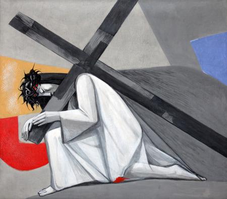 3 stazioni della via Crucis, Gesù cade per la prima volta nella chiesa della Santissima Trinità, nel villaggio bavarese di Gemünden am Main, nella diocesi di Würzburg Archivio Fotografico - 29250040