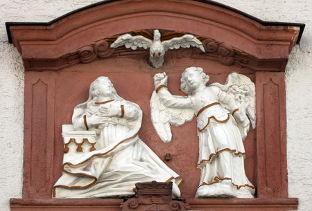 bass relief: The Annunciation , bass relief on the main street of Miltenberg in Lower Franconia, Bavaria, Germany