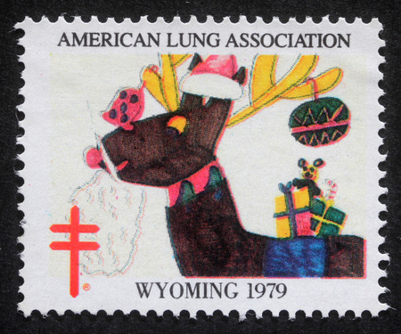 united states postal service: Christmas stamp printed in USA shows image celebrating the work of the American Lung Association, circa 1979