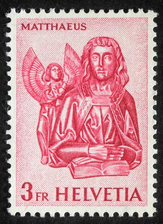 Stamp printed in Switzerland showing Saint Mattheus the Evangelist, circa 1982