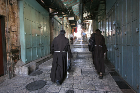 franciscan: Monks on the street of Jerusalem Stock Photo