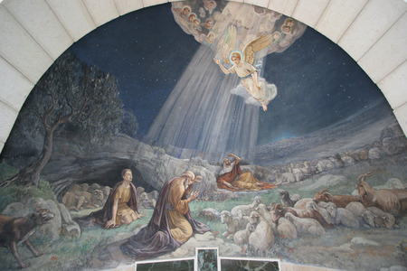 creche: Angel of the Lord visited the shepherds and informed them of Jesus  birth, Bethlehem, Church at the Shepherds  Fields
