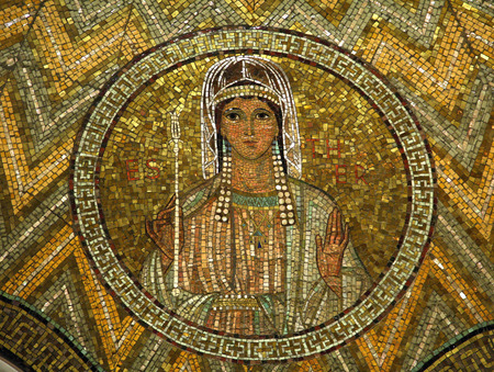 esther: Esther, mosaic, Jerusalem-The Church of Hagia Maria Zion-The Dormition Church