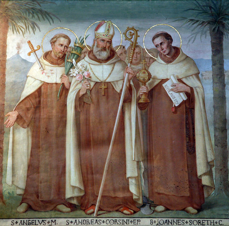 bl: Saint Angelus, Andrew Corsini and Bl  John Soreth, Carmelite Saints, The Church Stella Maris, Haifa, Israel