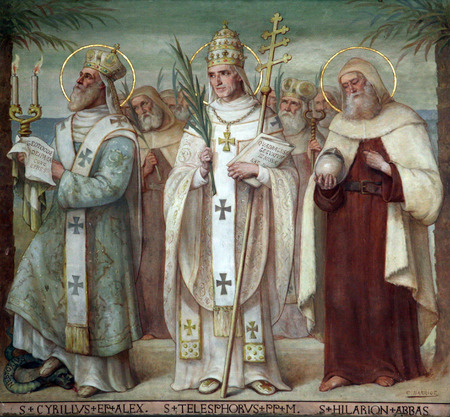sainthood: Saint Cyril, Telesphorus and Hilarius, Carmelite Saints, The Church Stella Maris, Haifa, Israel