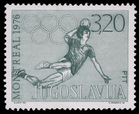 olympiad: A stamp printed in Yugoslavia shows olympic games in Montreal,circa 1976