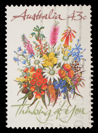 you are special: Stamp printed in AUSTRALIA shows the Bunch of flowers with the description  Thinking of You , Special Occasions, circa 1990