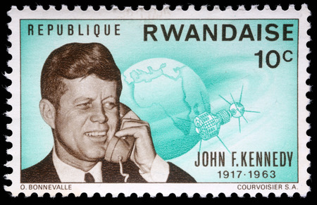 john fitzgerald kennedy: Stamp printed by Rwanda, shows John Fitzgerald Kennedy, circa 1964