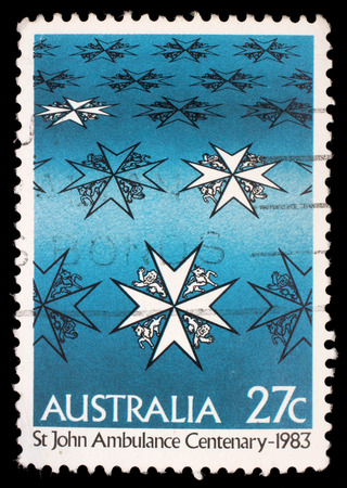 john: Stamp printed in Australia shows st john ambulance centenary, circa 1983