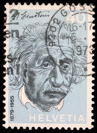 Stamp printed in Switzerland showing Albert Einstein, circa 1973