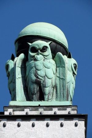 Owl, detail from Croatian national state archives building in Zagreb, Croatia photo