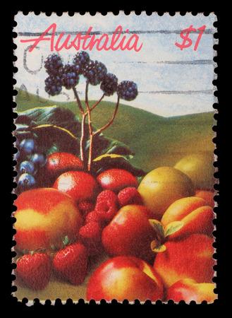 Stamp printed in Australia shows fruits, circa 1987
