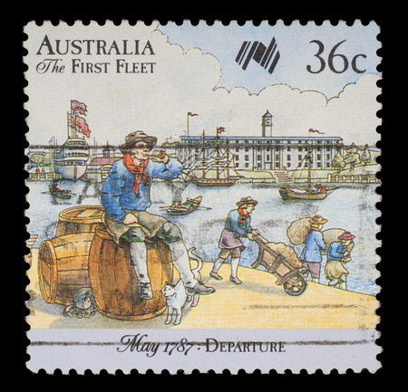 colonization: Stamp printed in Australia shows Sailor, 200 years of colonization of Australia Series  Departure  May 1787, circa 1987  Editorial
