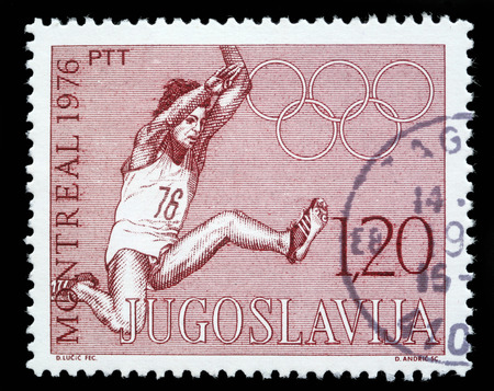 olympiad: Stamp printed in Yugoslavia shows olympic games in Montreal,circa 1976
