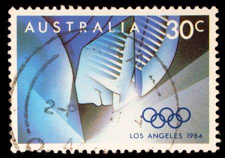 summer olympics: Stamp printed by Australia, shows 1884 Summer Olympics, circa 1984