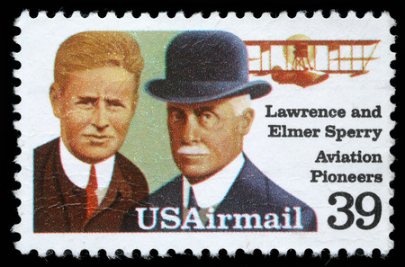 usps: Stamp printed in USA shows Lawrence and Elmer Sperri, Aviation Pioneers, Great people of United States, a series of 15 stamps, circa 1985