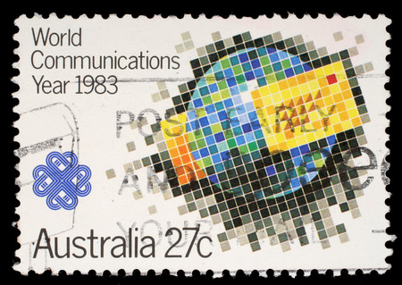 Stamp printed by Australia, shows World Communications Year, circa 1983 photo