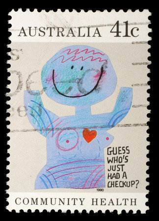 Stamp printed in Australia shows the Caricature  Medical checkups , Community health, circa 1990 Stock Photo