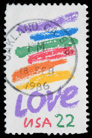usps: Stamp printed in USA shows image of the dedicated to the Love circa 1980