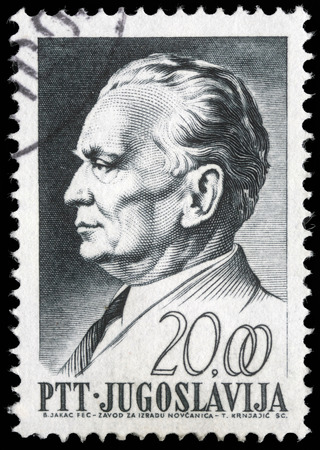 Stamp printed in Yugoslavia, is depicted Josip Broz Tito, circa 1967 Editorial