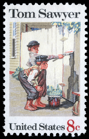 Stamp printed in USA shows the painting  Tom Sawyer , by Norman Rockwell  1894-1978 , American Folklore Issue, circa 1972 Redakční