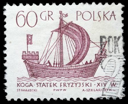Stamp printed in Poland shows a vintage ship, circa 1950s Zdjęcie Seryjne