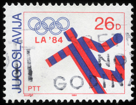 Stamp printed in Yugoslavia shows olympic games in Los Angeles,circa 1984 Editorial