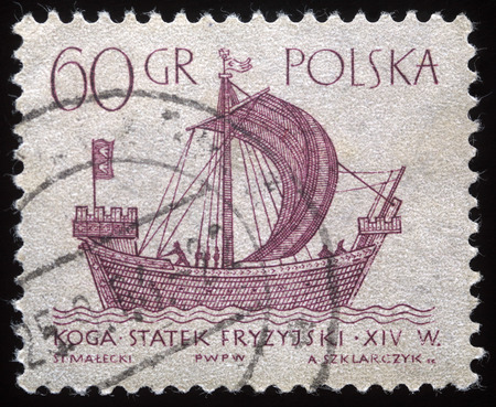 A vintage postage stamp printed in Poland shows a vintage ship, circa 1950s