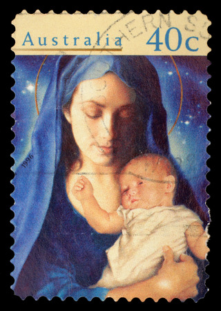 Stamp printed in Australia from the  Christmas   issue shows Madonna and Child, circa 1996