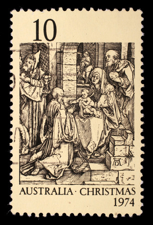 Stamp printed in Australia shows the Adoration of the Kings by Durer, circa 1974