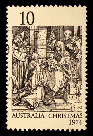 durer: Timbro stampato in Australia mostra l'Adorazione dei Magi da Durer, circa 1974 Editoriali
