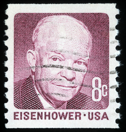 eisenhower: Stamp printed in the United States of America shows image of former US President Dwight Eisenhower, series, circa 1971