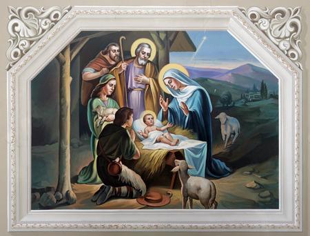 vierge marie: Scène de la Nativité Éditoriale